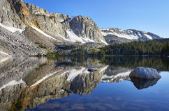 Marie Lake, Snowy Range, Wyoming. Reflection of mountain peaks in Lake Marie, located in the Medicine Bow mountain range of southeastern Wyoming stock photo