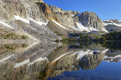 Marie Lake, Snowy Range, Wyoming. Reflection of mountain peaks in Marie Lake, located in the Medicine Bow mountain range of southeastern Wyoming stock image