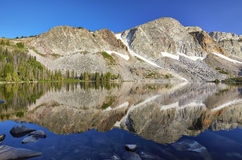 Marie Lake, Snowy Range, Wyoming. Reflection of mountain peaks in Marie Lake, located in the Medicine Bow mountain range of southeastern Wyoming stock photography
