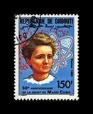 Marie Sklodowska-Curie, famous polish nobel prize winner, phisicist, scientist, radioactivity observer, Djibouti, circa 1984, stock photo
