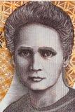Marie Sklodowska Curie stående från gammal tjugo tusen zloty arkivfoto