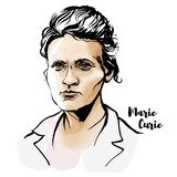 Marie Curie Portrait stock illustration