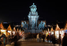 Marie-Theresa Statue and Christmas Market, Vienna Stock Photography