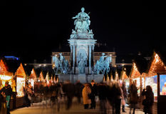 Marie-Theresa Statue and Christmas Market, Vienna Royalty Free Stock Image