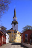 Mariefred,Sweden, the village. Mariefred,Sweden, village and bell tower  and street Stock Photography