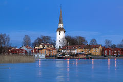 Mariefred Town in winter evening, Sweden Royalty Free Stock Images