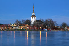 Mariefred Town in winter evening, Sweden Stock Photos