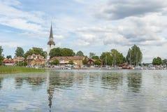 Mariefred in Zweden in de zomer stock foto