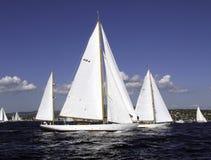 Mariella. Classic sailing yacht Marconi Yawl Mariella of 1938 racing the yacht Lucia Stock Image