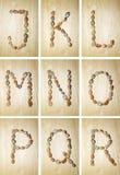 Marien alfabet j-r Stock Foto