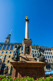 Marien column, Mariensule in Marienplatz Stock Photos