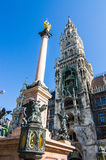 Marien column, Mariensule in Marienplatz Stock Photo