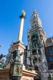 Marien column, Mariensule in Marienplatz Stock Photo