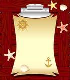 Marien kader met shells van het ankerwiel zeesterren Royalty-vrije Stock Foto