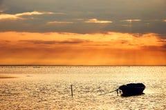 Marien landschap met boot, in Frankrijk (Camargue) Stock Foto