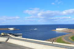 Marien landschap met een dam Royalty-vrije Stock Foto's