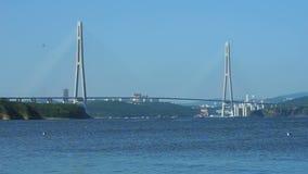 Marien landschap met meningen van het Eiland Rus in Vladivostok stock videobeelden