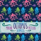 Marien naadloos octopuspatroon Royalty-vrije Stock Foto
