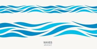 Marien naadloos patroon met gestileerde blauwe golven op een lichte achtergrond Royalty-vrije Stock Fotografie