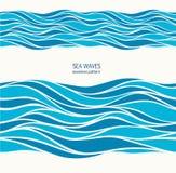 Marien naadloos patroon met gestileerde blauwe golven op een lichte rug Royalty-vrije Stock Foto's