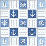 Marien thema Blauw overzees naadloos patroon Stock Afbeeldingen