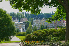 Marienbad - view trough lush to Fountain And Colonnade -Czech re Royalty Free Stock Images