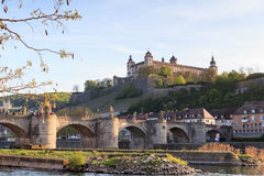 Marienberg Fortress and Alte Mainbrucke in Wurzburg, Germany Royalty Free Stock Photos