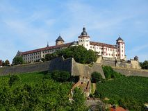 Marienberg Fortress German: Festung Marienberg is a prominent landmark on the left bank of the Main river in Wuerzburg, in the Fr. Anconia region of Bavaria stock photo
