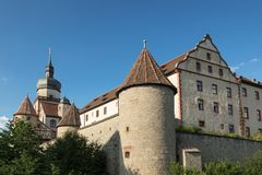 Marienberg Fortress rises about vineyards Royalty Free Stock Photos