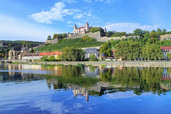 Marienberg Fortress in Wurzburg, Germany. View of the Marienberg Fortress reflecting in the Main River in Wurzburg, Germany royalty free stock photo