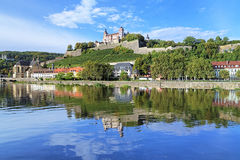 Marienberg Fortress in Wurzburg, Germany. View of the Marienberg Fortress reflecting in the Main River in Wurzburg, Germany stock photo