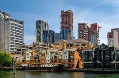 Marienborgh小船在金丝雀码头 免版税库存照片