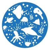 Mariene dieren blauwe Cirkel Royalty-vrije Stock Foto