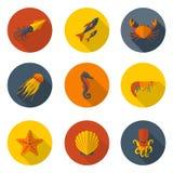 Mariene dieren vlakke pictogrammen Royalty-vrije Stock Fotografie