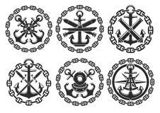 Mariene en zeevaart heraldisch anker vectorpictogrammen Royalty-vrije Stock Foto's