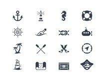 Mariene en zeevaartpictogrammen Royalty-vrije Stock Foto