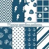 Mariene naadloze geplaatste patronen Ontwerpelementen voor behang, de uitnodiging van de babydouche, verjaardagskaart, het scrapb vector illustratie