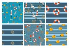 Mariene naadloze patronen voor behang, plakboek en ander ontwerp Een inzameling van 6 vectorpatronen royalty-vrije illustratie
