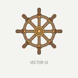 Mariene pictogram van de lijn het vlakke vectorkleur met zeevaartontwerpelementen - stuurwiel De stijl van het beeldverhaal illus vector illustratie