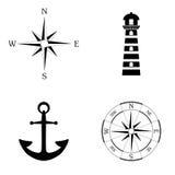 Mariene pictogrammen vectorreeks Stock Foto's