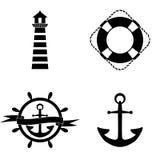 Mariene pictogrammen vectorreeks Stock Afbeelding