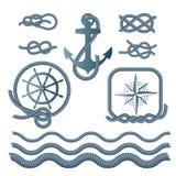 Mariene symbolen - een kompas, een anker, een kabelknoop, een kabel royalty-vrije illustratie