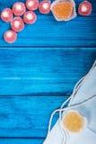 Mariene thema blauwe achtergrond Stock Foto