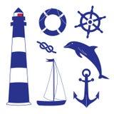 Mariene voorwerpen Blauwe oceaanreeks Royalty-vrije Stock Foto's