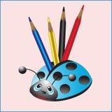 Marienkäfer mit Bleistiften lizenzfreie abbildung