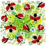 Marienkäfer mit Herzen und nahtlosem Muster der Blumen - Vektor Lizenzfreie Stockfotos
