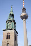 Marienkirche Church and Fernsehturm Television Communication Tow Royalty Free Stock Image