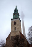 Marienkirche church and TV tower. Stock Photo