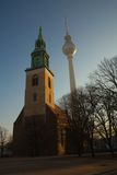 Marienkirche church and TV tower in Berlin Royalty Free Stock Photography