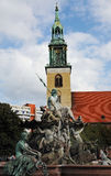 Marienkirche and Neptunbrunnen Royalty Free Stock Image